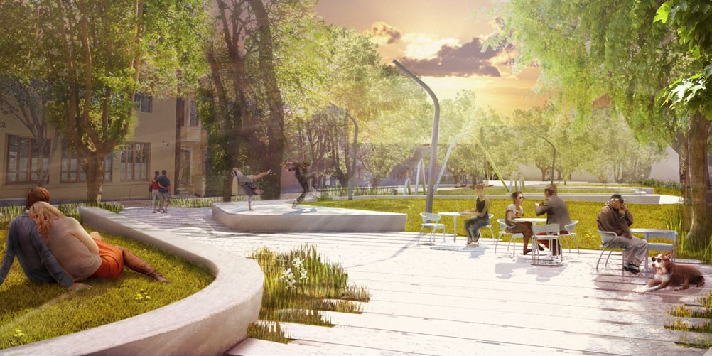 Perspective of Central Plaza - Image courtesy of and produced by Fletcher Studio