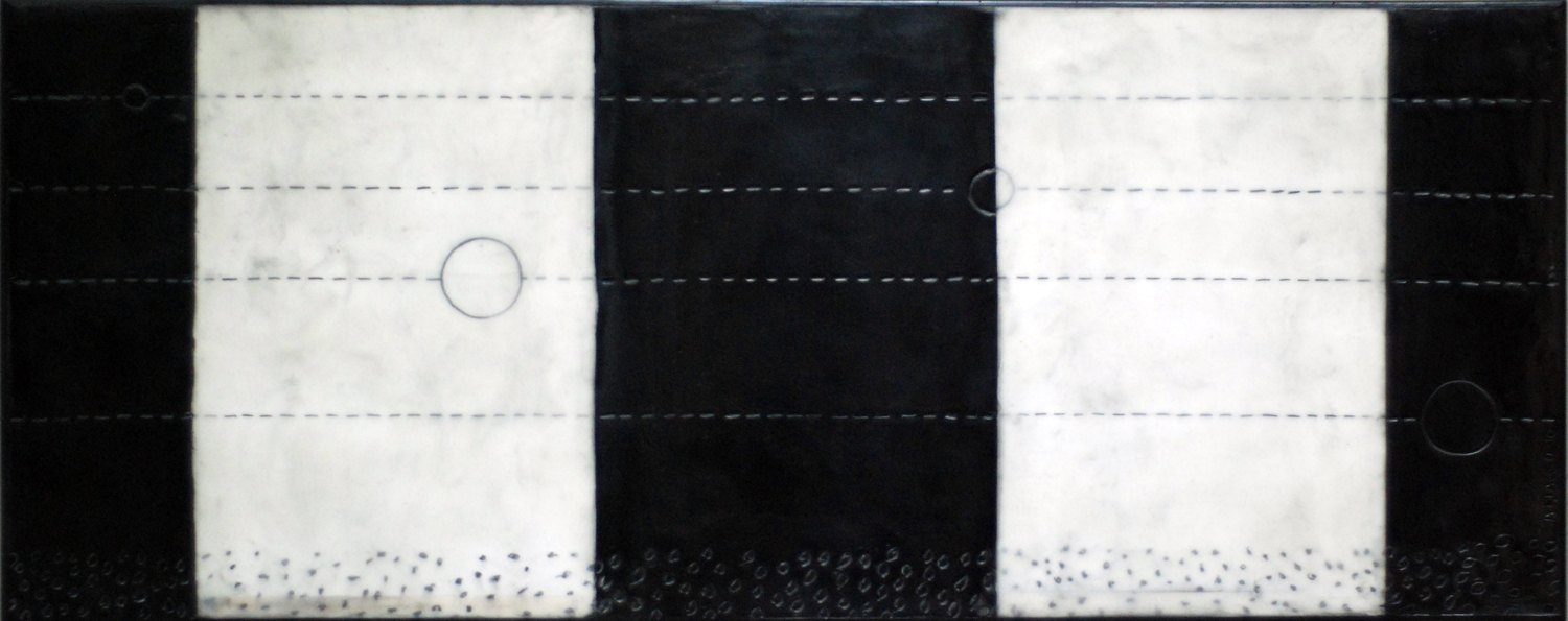 """Five Inner Planets  -  2010    50"""" x 20"""" beeswax and graphite on plaster and wood                          sold"""