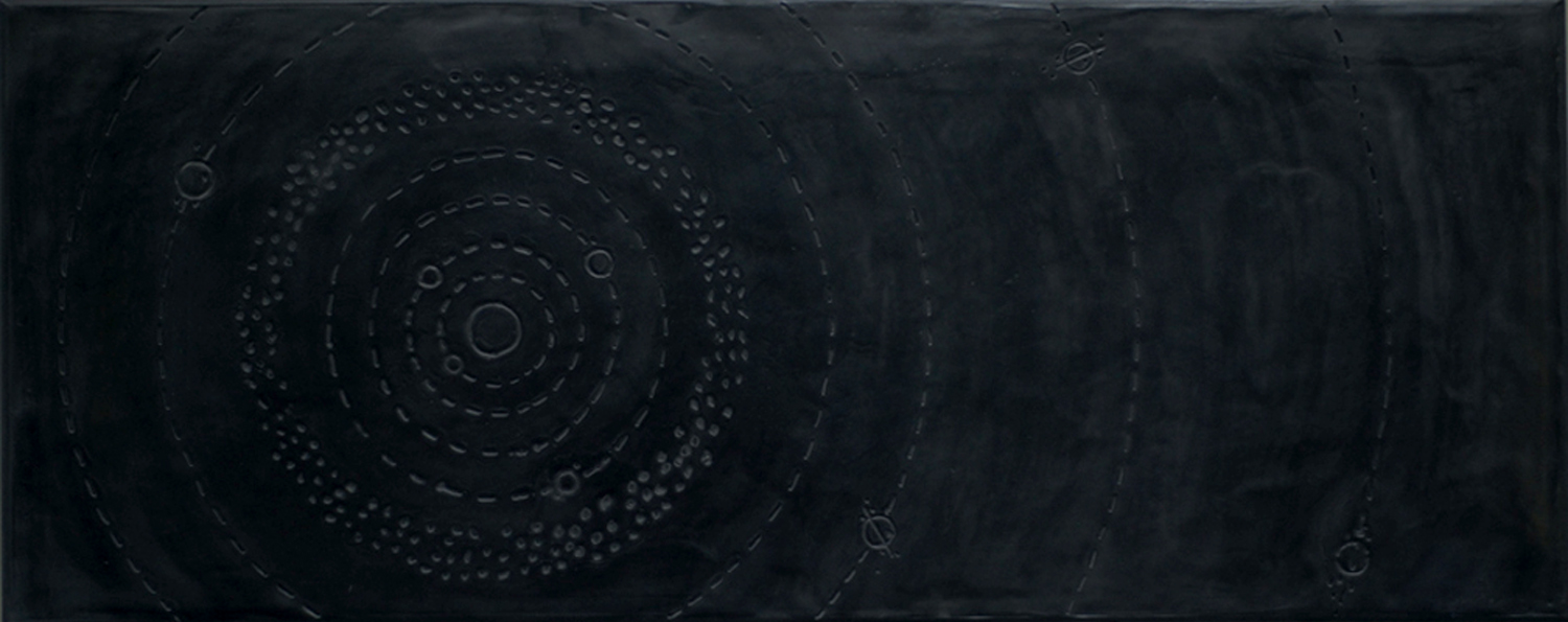 """Solar System  -  2010   50"""" x 20"""" beeswax and graphite on plaster and wood"""