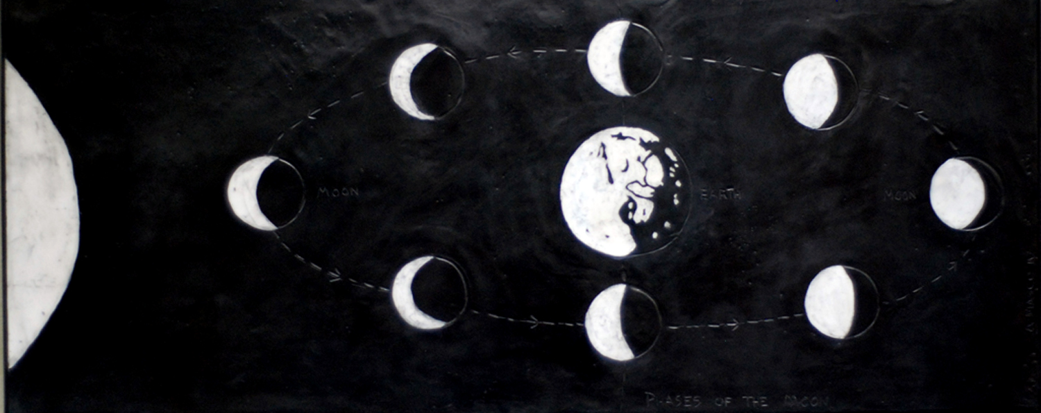 """Phases of the Moon  -  2010   50"""" x 20"""" beeswax and graphite on plaster and wood"""