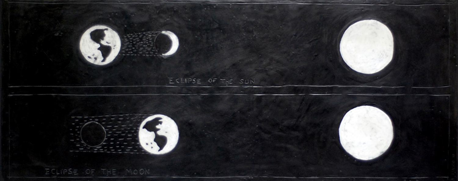 """Eclipse of the Moon  -  2010    50"""" x 20"""" beeswax and graphite on plaster and wood"""
