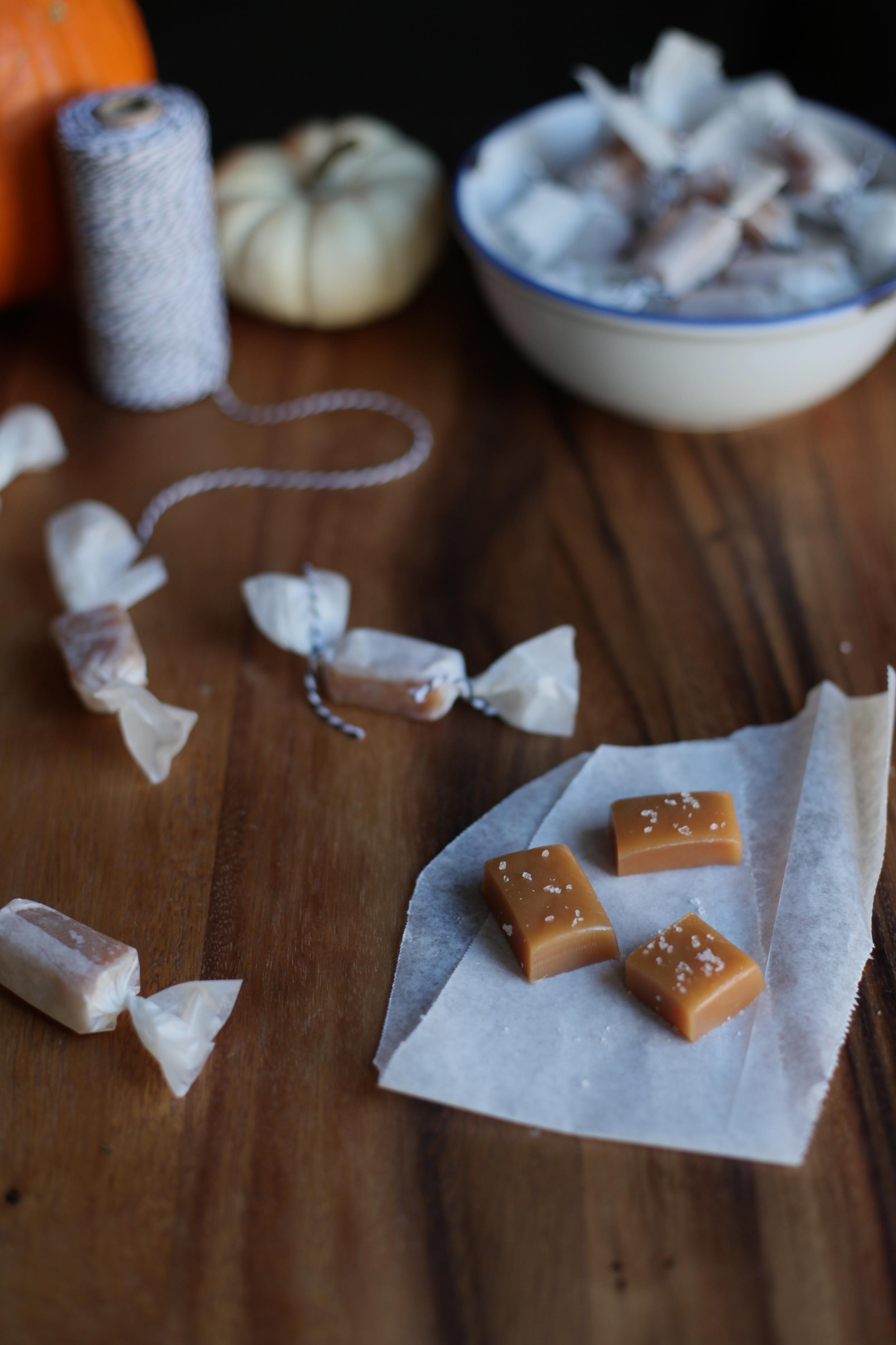 Caramel Candies Topped with Pink Himalayan Sea Salt