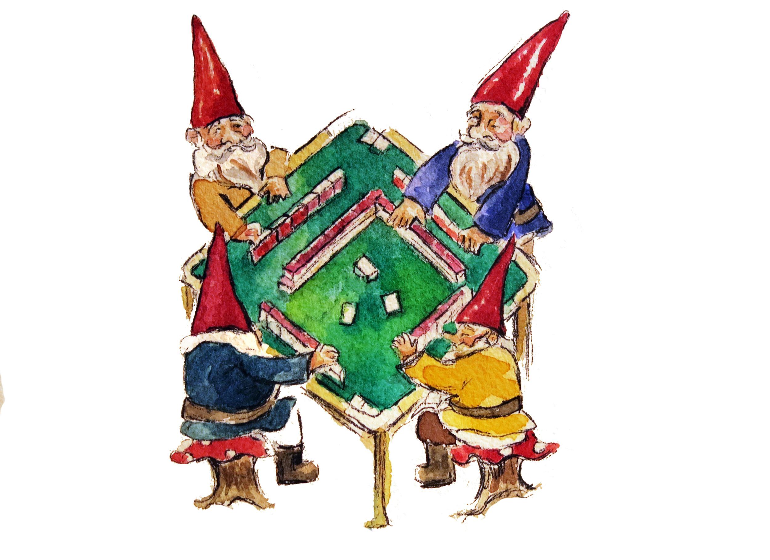 Gnomes playing mahjong