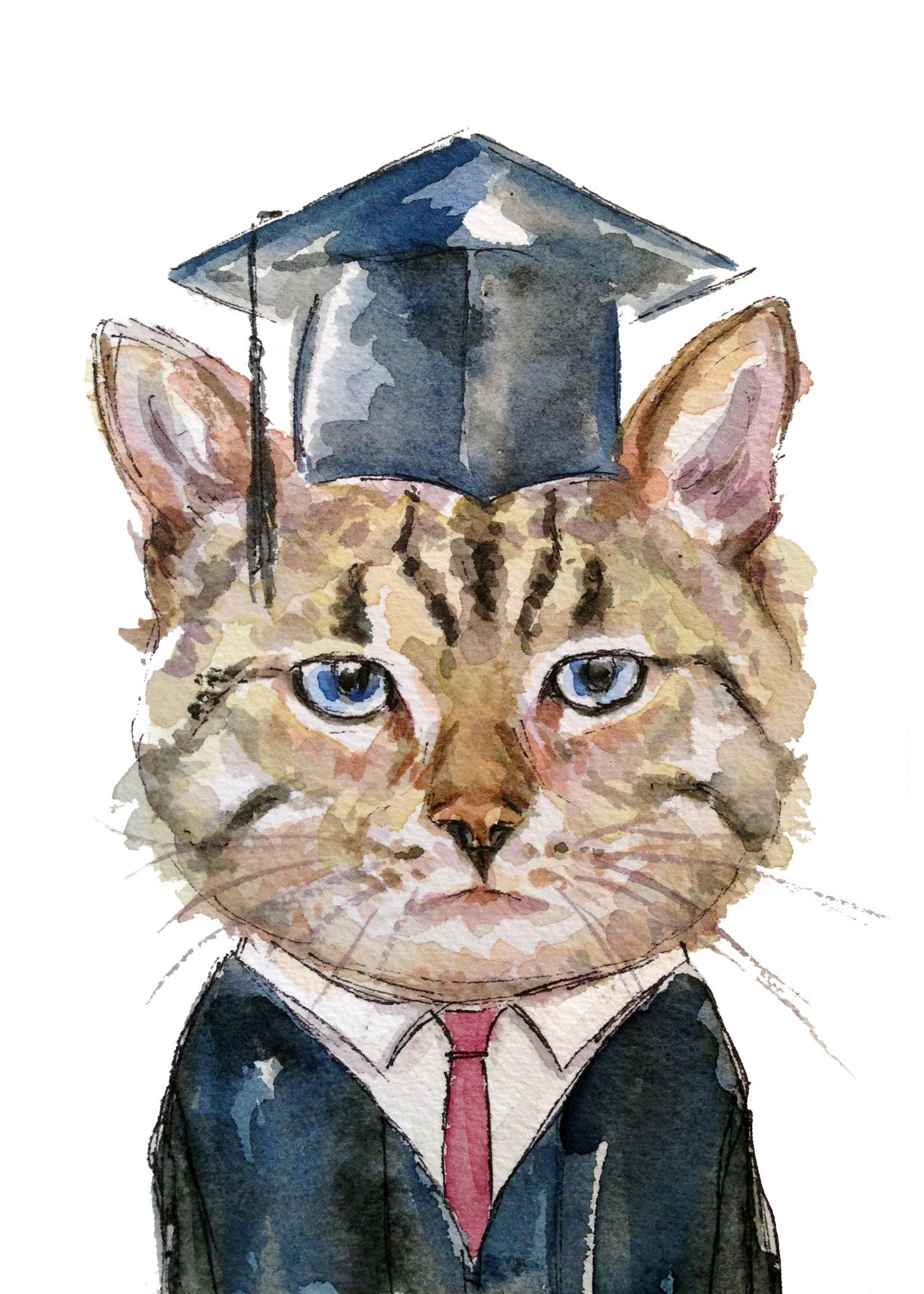 Grad Cat (ORIGINAL SOLD)