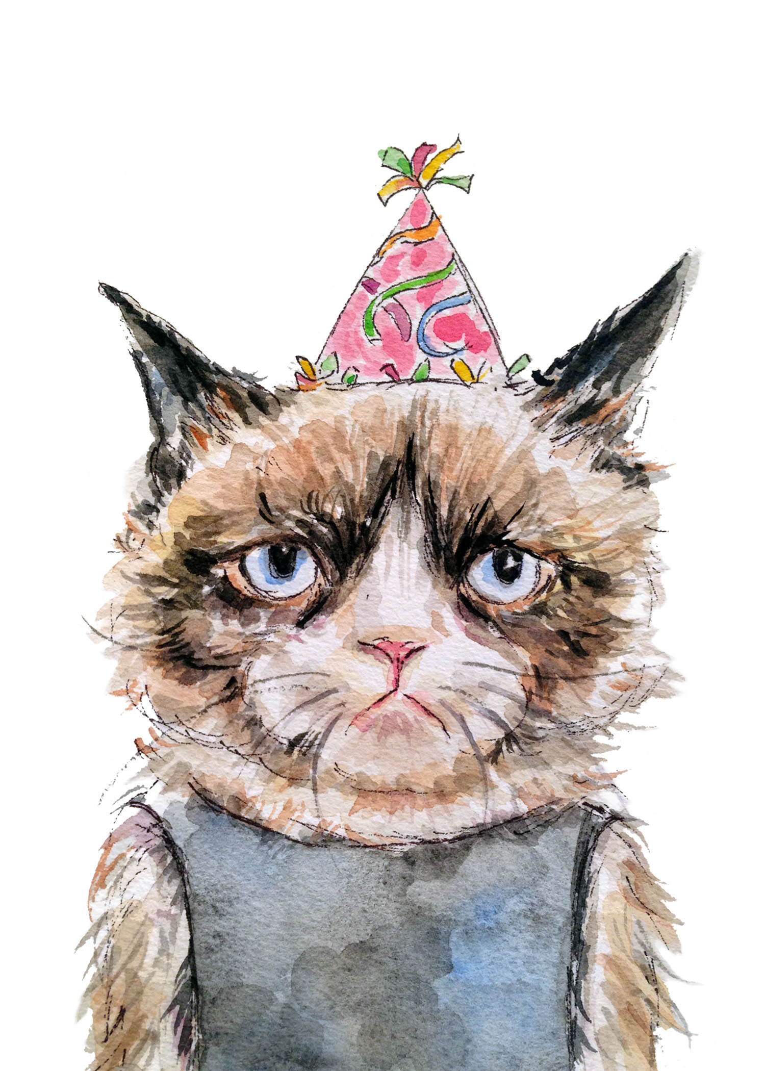 Grumpy Birthday Cat (ORIGINAL SOLD)