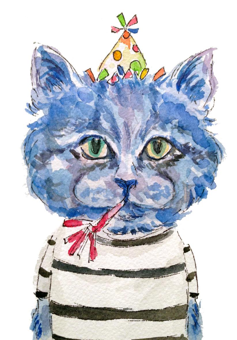 Blue Birthday Cat