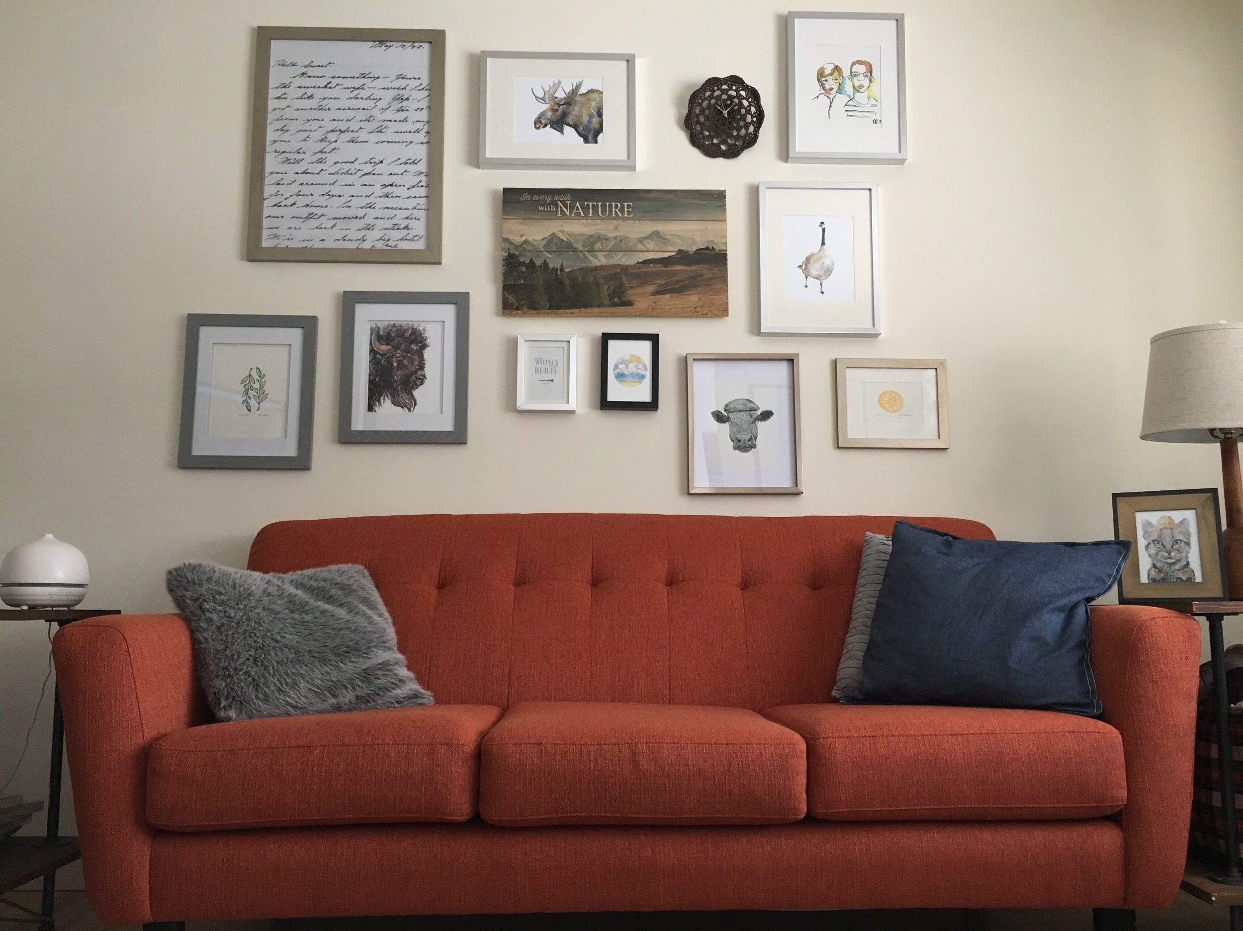 Four of my prints in Louise's beautiful living room