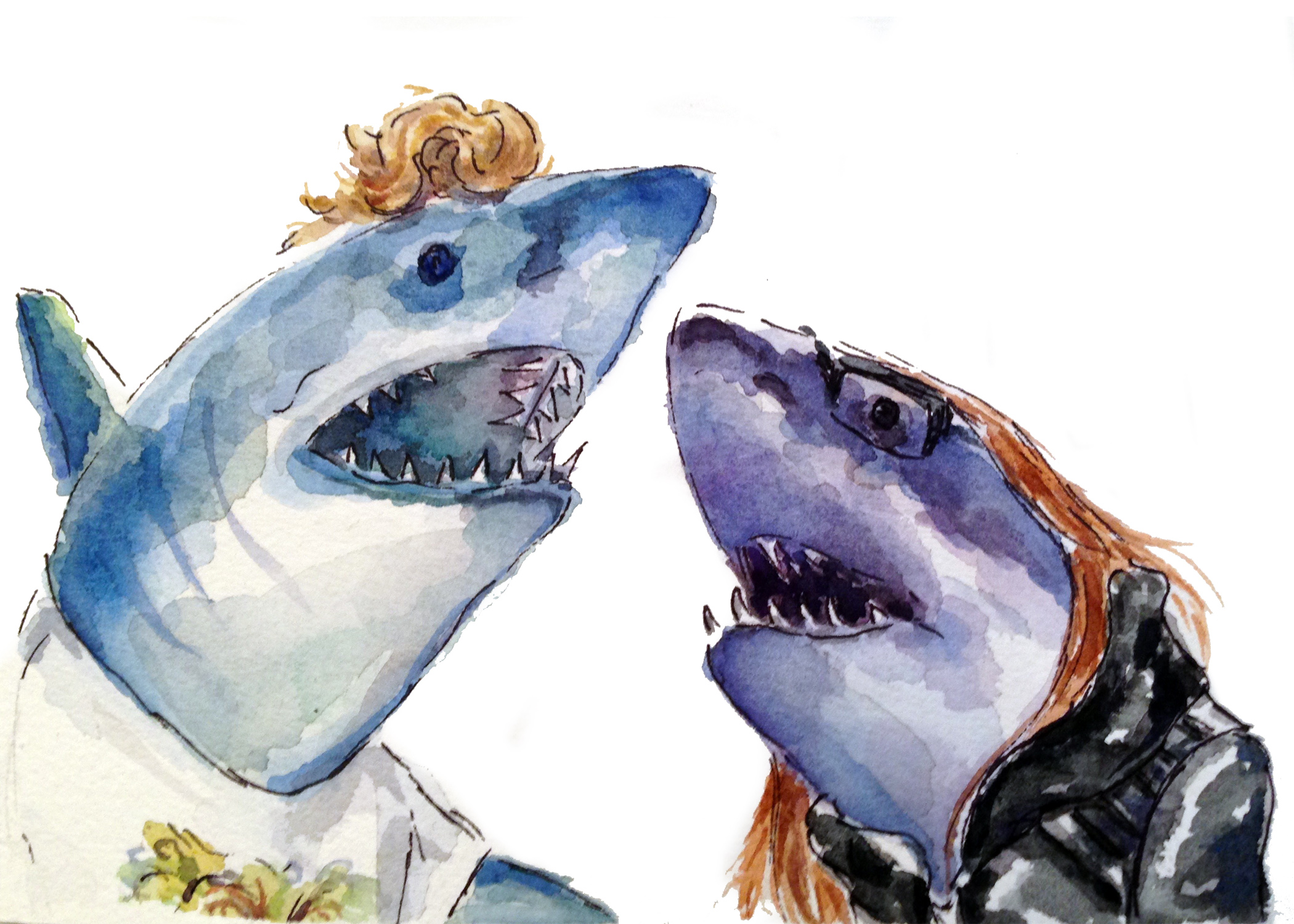 Dustin and Angela as sharks