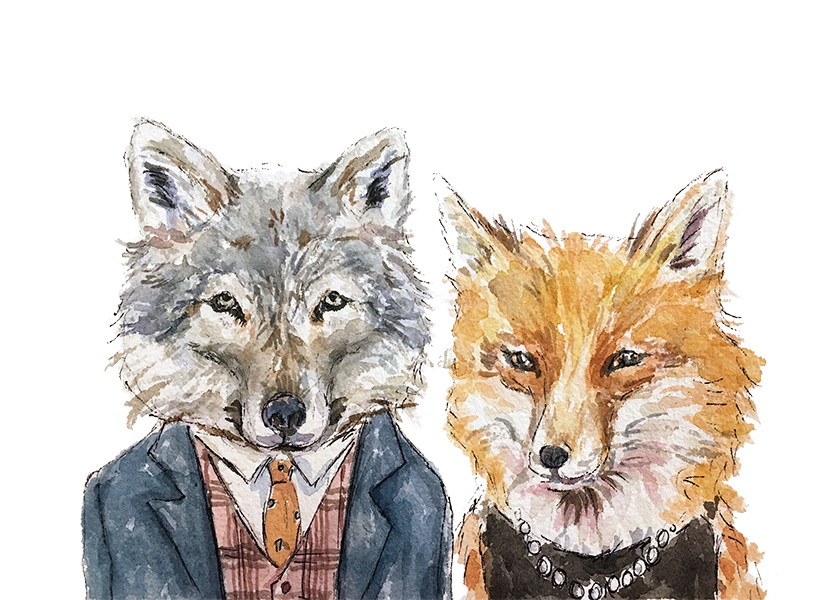 Wolf and Fox Couple