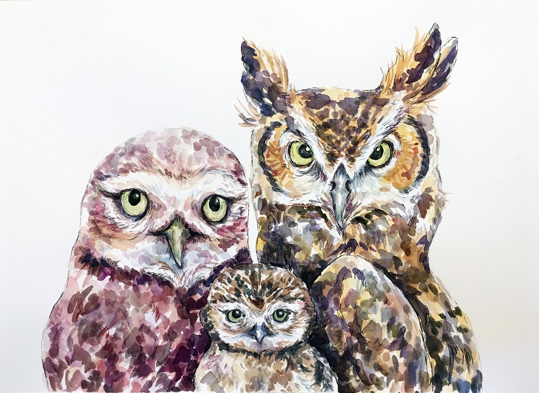 CUSTOM Owl Family Portrait