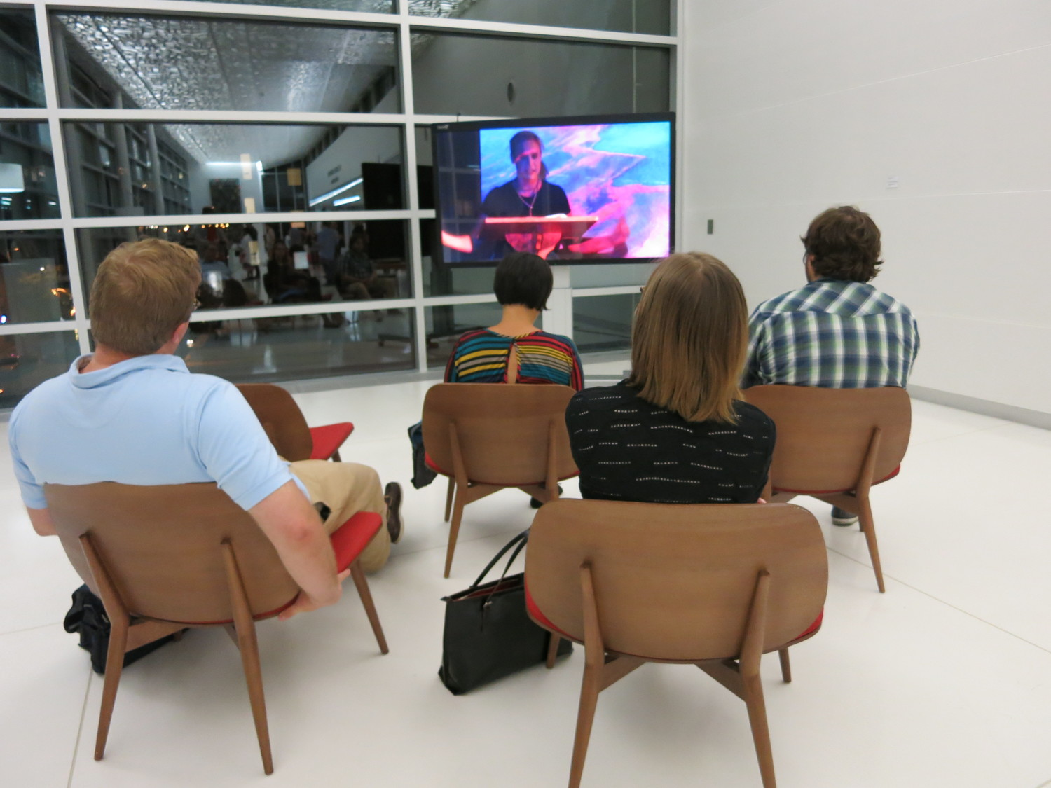 As part of the art exhibition series, The Bubbler selected a variety of video artist to display their works at the library. This above photo features Katie Schaag's work.