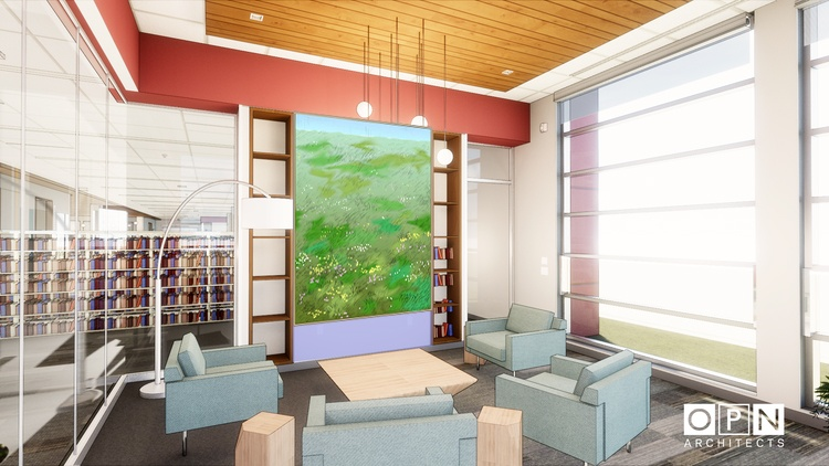 This image is a rendering of Cheong's site-specific piece created for New Pinney Library, please note final color, form, etc may change.