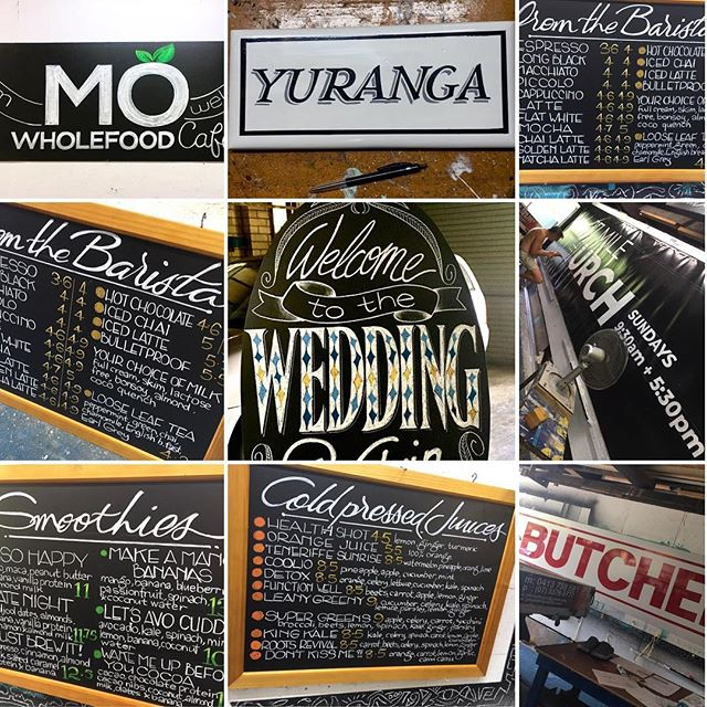 Recent jobs #wevebeenbusy #indemand #workinit #aaandlovinit #chalkboards #signage #signwriting #handdone #menuboards #weddingchalkboards #chalkart #chalkboarddesign #johnbelltype