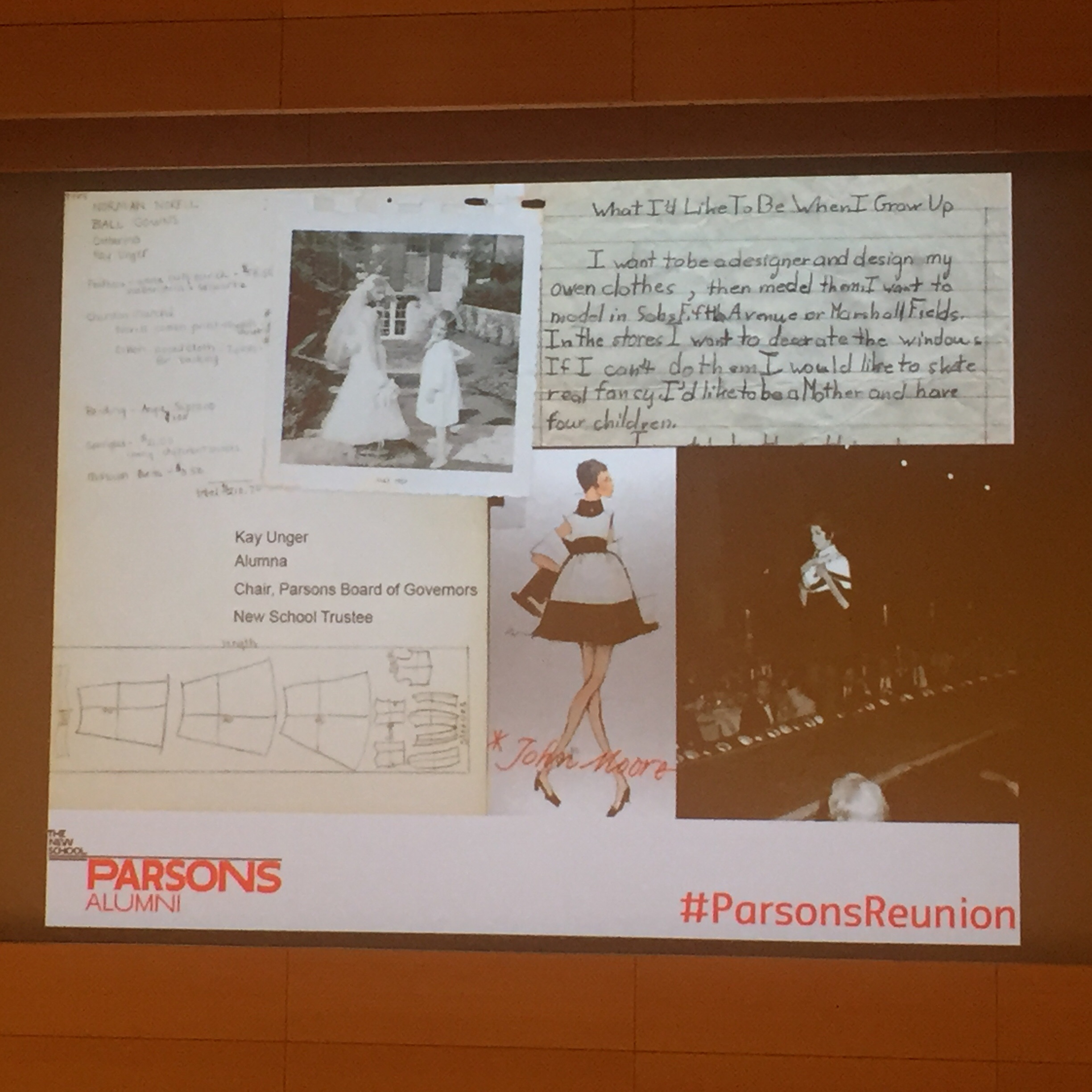 A letter Kay wrote when she was 8 years old stating she wants to be a fashion designer