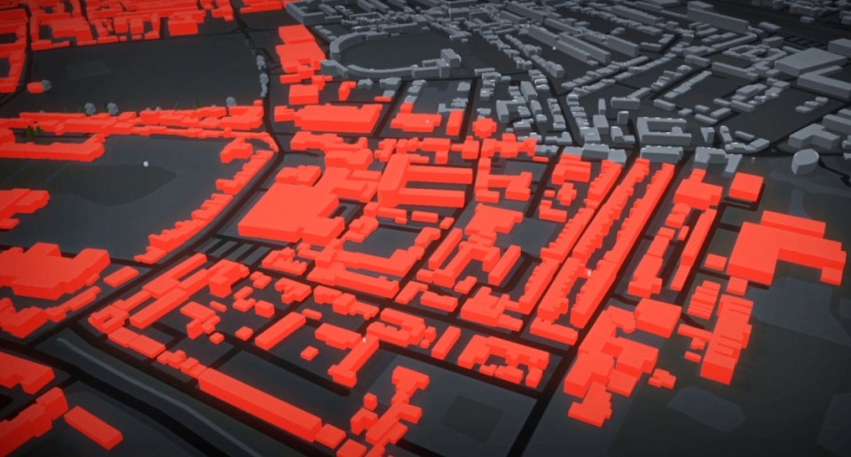 A snippet of an environment that SpatialOS can simulate. Modeled on a British city.