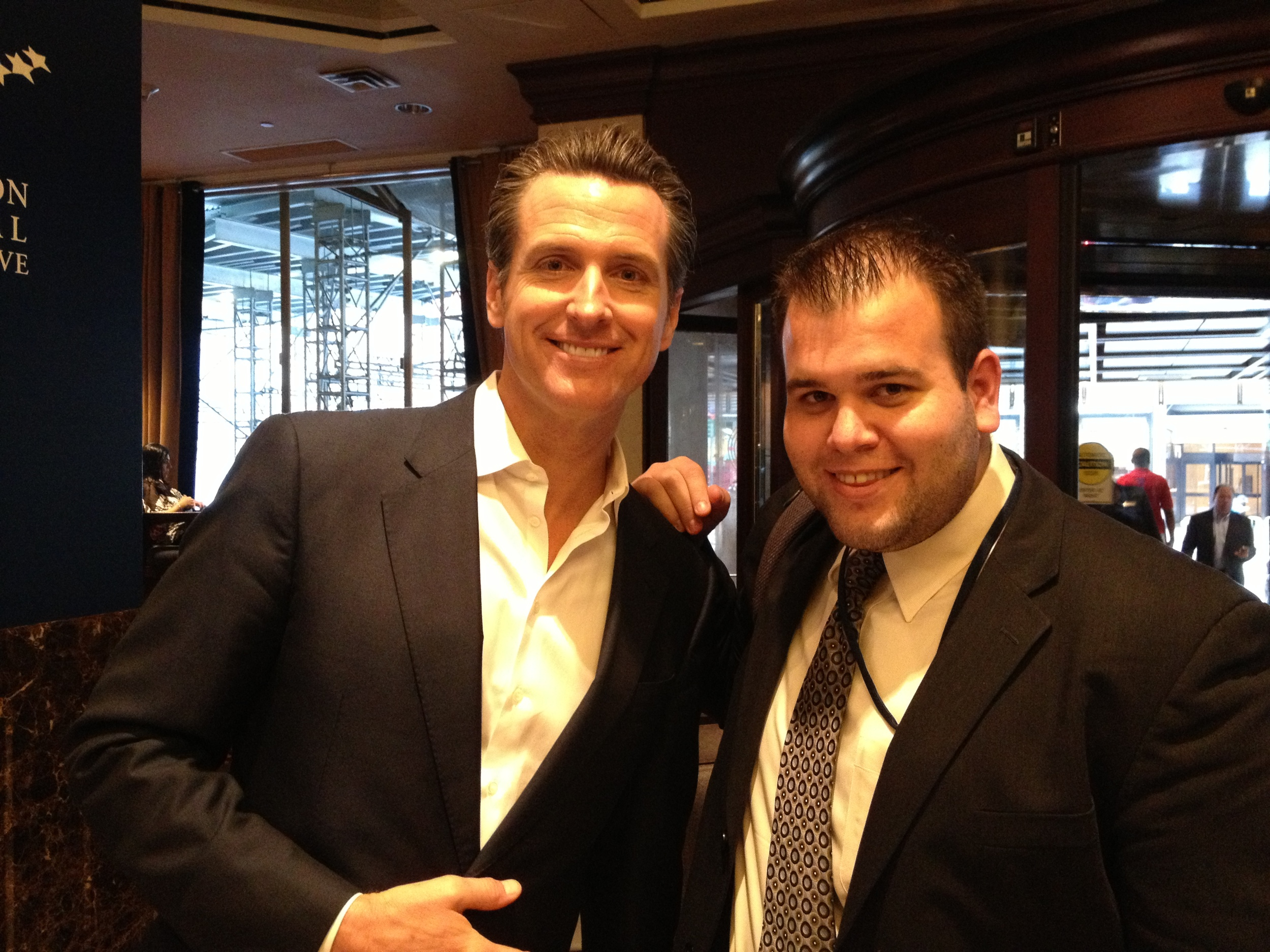 Meeting Gavin Newsom for the first time. I invited him to be a 105 Conversations interview in NYC at the 2012 Clinton Global Initiative.