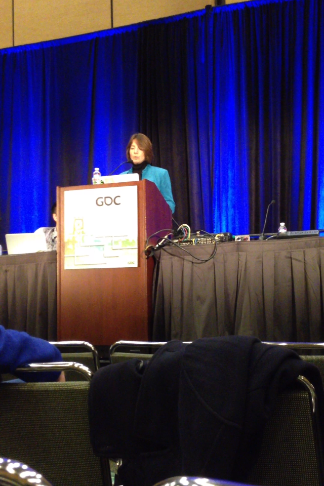 Nicole Lazzaro, President of XEODesign, speaking as a keynote speaker at the Game Developer's Conference.