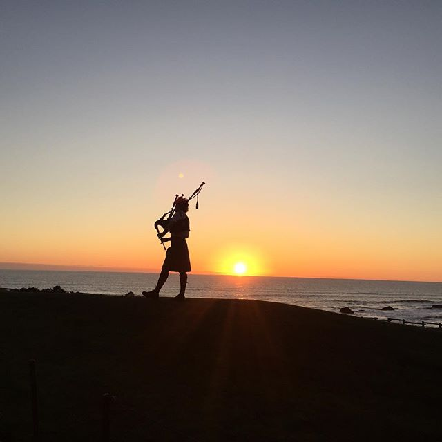 Bagpipes at sunset. #nofilter