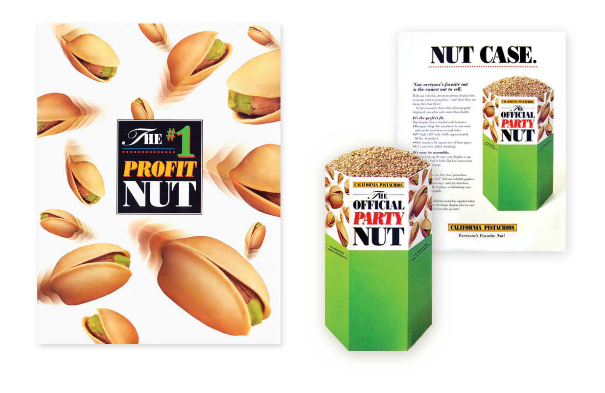 California Pistachio Commission display program included specially developed display design, trade advertising, direct mail, and merchandising materials. Miniature 5 inch displays were produced to hold several ounces of pistachios and were used as handouts.