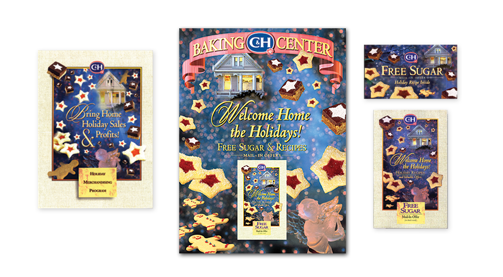 C&H Sugar Holiday promotion which offered free sugar and free recipes in a recipe booklet and tear pads. Also included posters, and merchandising materials and a sales incentive program.