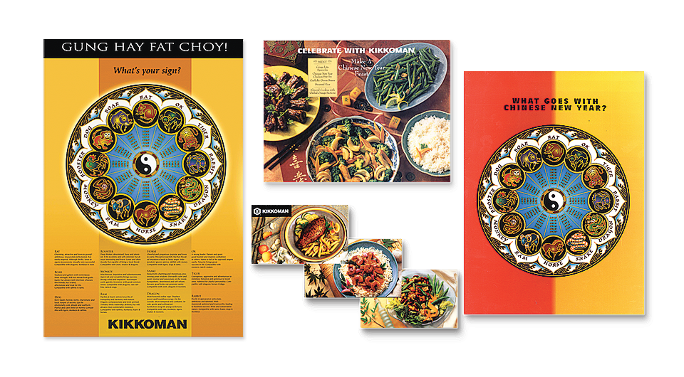 Kikkoman Chinese New Year Promotion featuring Chinese Zodiac Calendar with explanations of zodiac signs, various, consumer offers, and recipes.