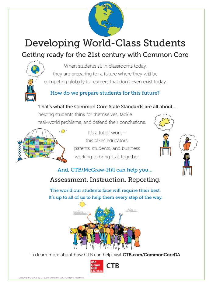Full page trade ad for CTB/McGraw-Hill and the Common Core State Standards
