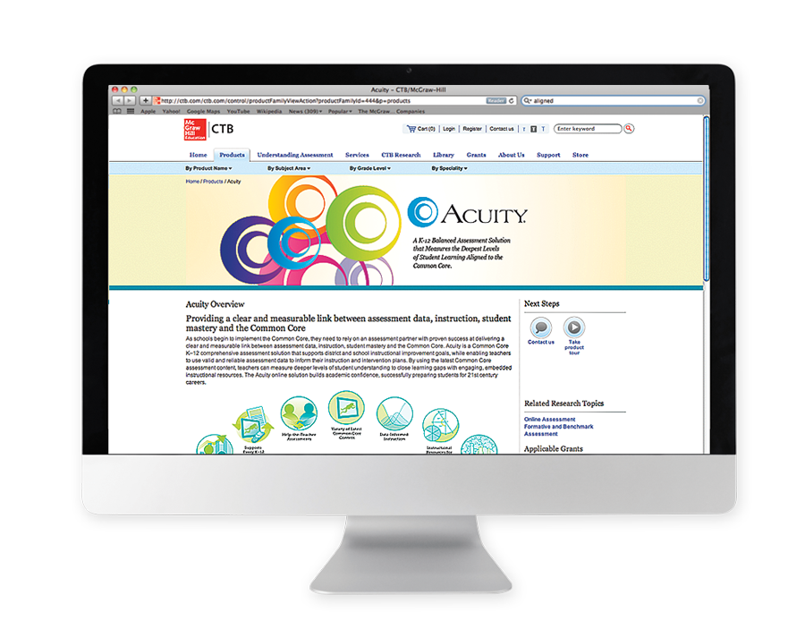 Acuity home page design and iconography.