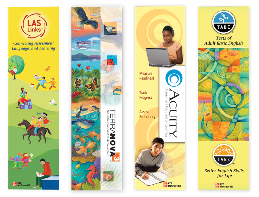 Display banners for CTB/McGraw-Hill products. These designs featured their unique branding elements.