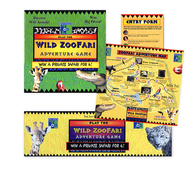 """San Francisco Zoo- Wild Zoofari Promotion To boost traffic, we devised a special """"scavenger hunt"""" promotion which included brochures with treasure maps and entry forms, a variety of posters and clue cards place throughout the grounds, 10 foot banners at both entrances, (seen here down below) and ads in local media."""