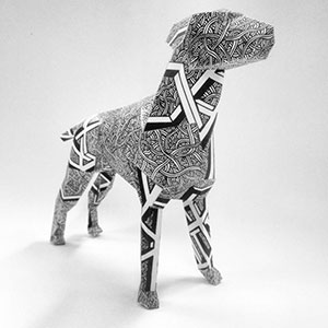 Gerald The Dog / Penrose   Artworking of paper dog model for British design studio, Lazerian, as part of an international project.