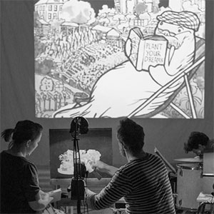 West / Paper Cinema   Collaborative project creating imagery for a live animated theatre piece.