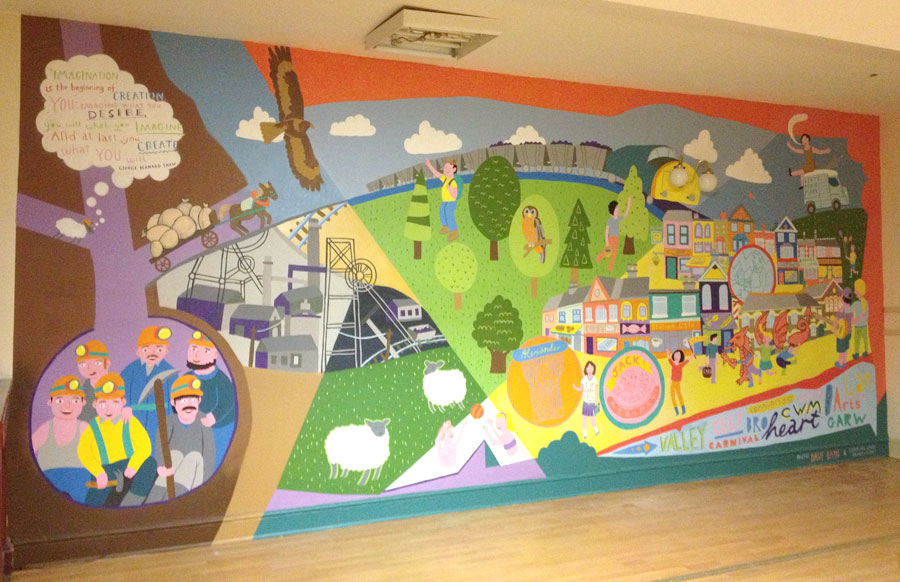 Completed mural - rather pleased about the placement of the lamps fitting the front headlights of the train