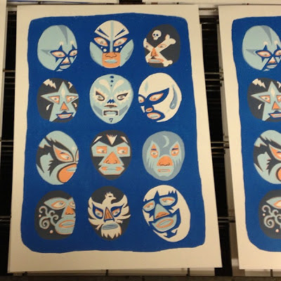Final pink/orange/peach (various opinions from studio mates on what colour it is) layer goes on, overlapping the blue (1st layer) to produce the very dark colour on some of the masks.