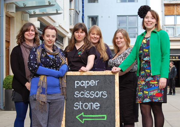 Some of the shop team behind Paper Scissors Stone