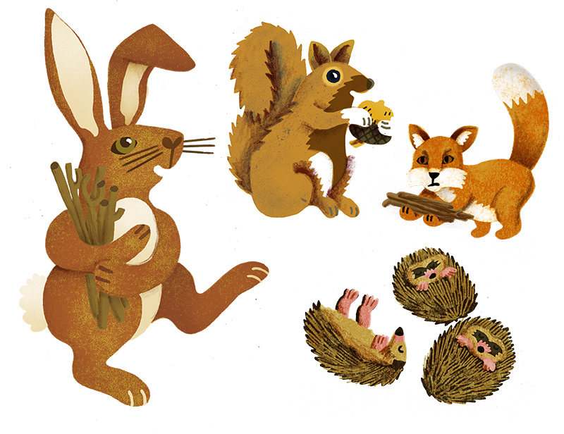 Some of the animals as separate elements. One of the hedgehogs didn't make the final cut.