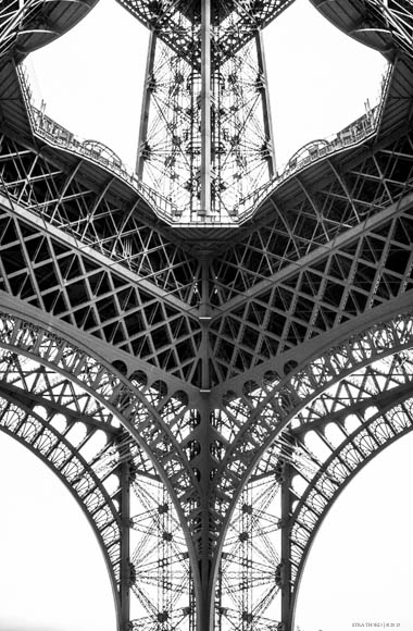 View looking up from below the Eiffel Tower, Paris