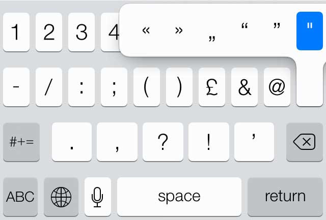 The symbols keyboard in iOS 7 is labelled with a closing double quotation mark/speech mark but the default symbol you actually get is a double prime.