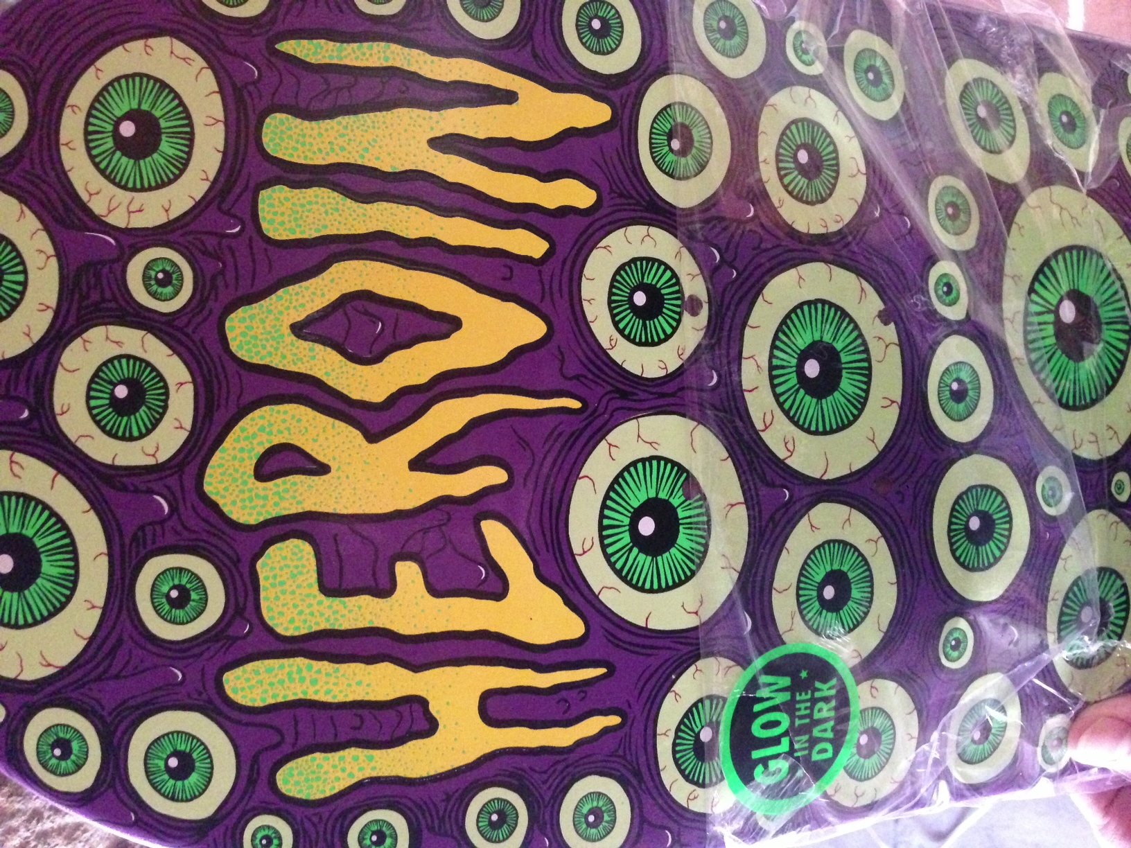 Sneak Peek at one of the new Eyes colourways that's coming soon. This one is 8.38. This graphic was inspired when I was on a train going to Stockwell and some woman was staring at my board and reading every single sticker on it, she couldn't take her eyes off my board, so I decided to design a board that stared back.