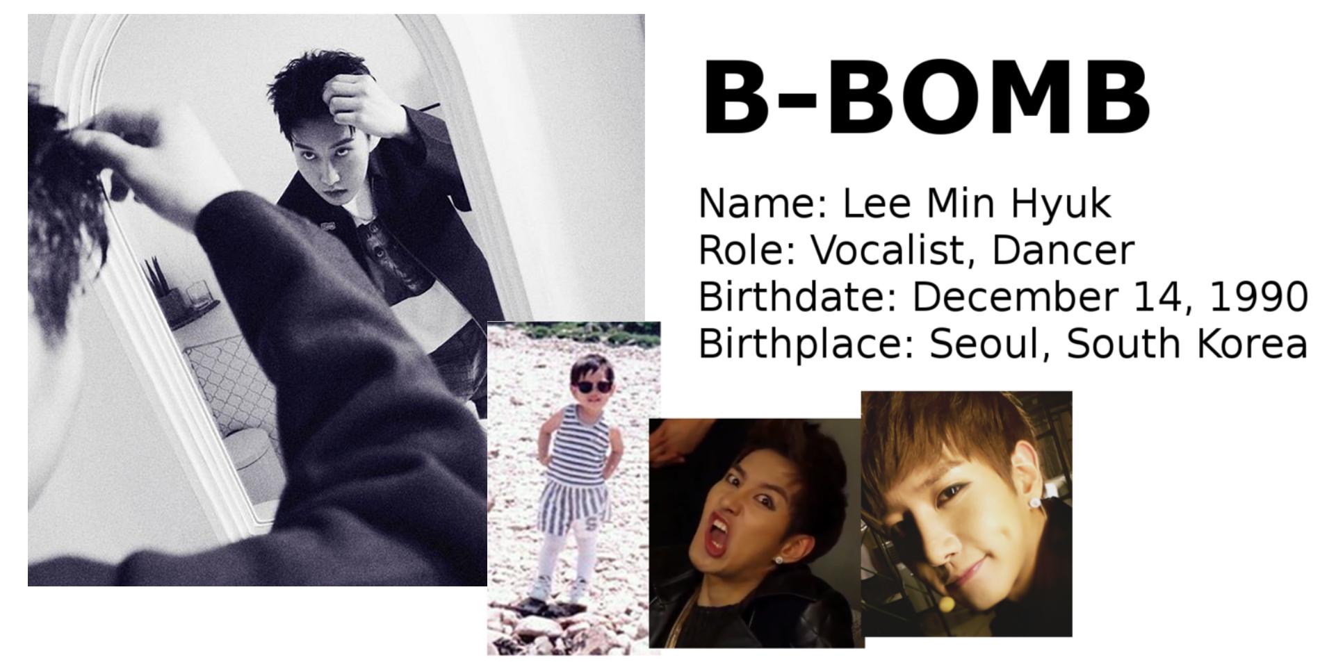 B-Bomb Block B singer dancer Korean songs profile Block B: Zico, Park Kyung, Jaehyo, P.O, B-Bomb, U-Kwon, Taeil rapper songs Korean K-pop K hip hop hep hap Bastarz profile mitglieder membres member tattoo personalities personality maknae age oldest youngest