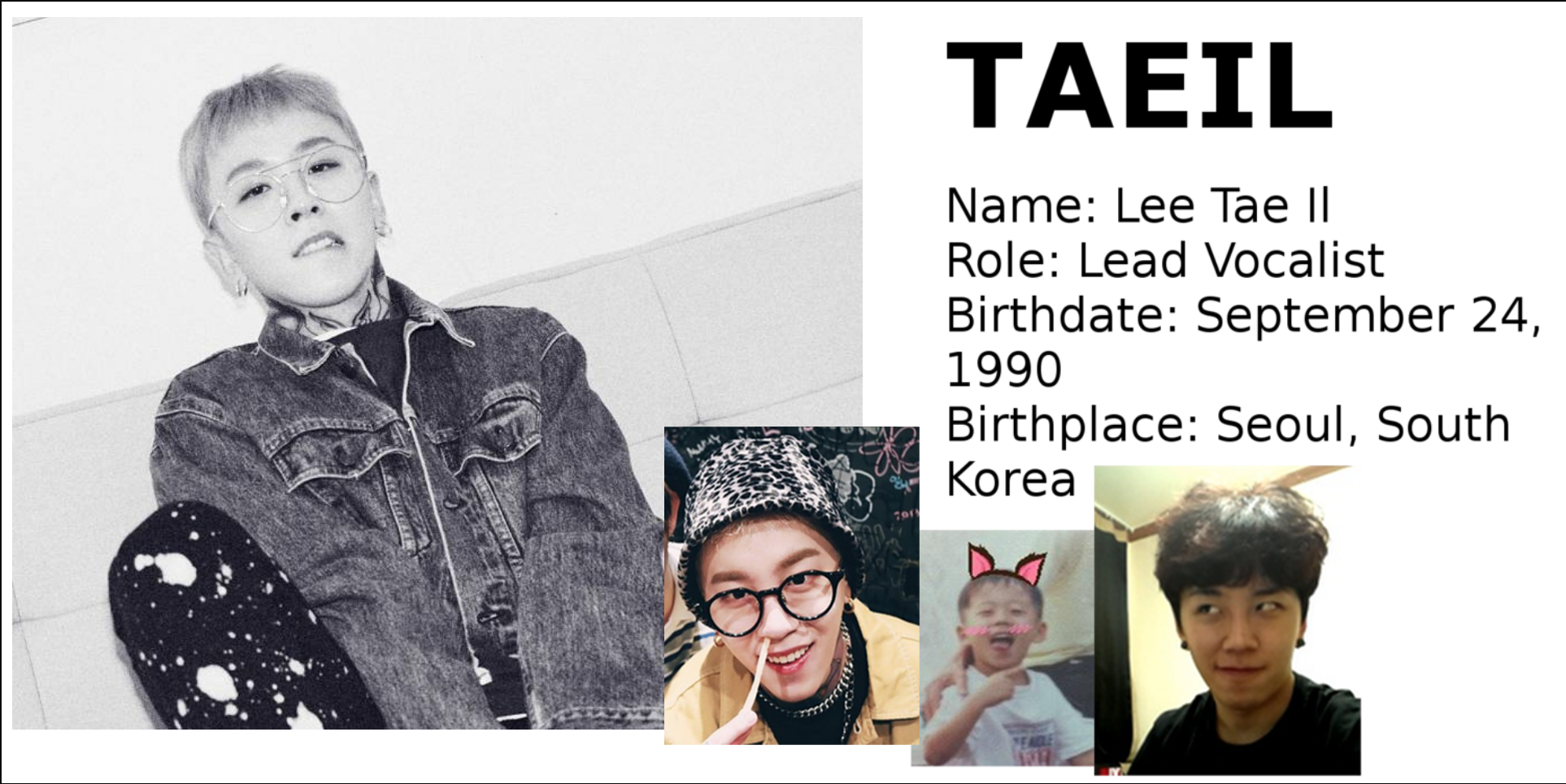 Taeil Block B singer Korean songs profile Block B: Zico, Park Kyung, Jaehyo, P.O, B-Bomb, U-Kwon, Taeil rapper songs Korean K-pop K hip hop hep hap Bastarz profile mitglieder membres member tattoo personalities personality maknae age oldest youngest T2U