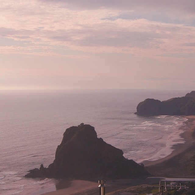 Ocean view from above at Piha, New Zealand