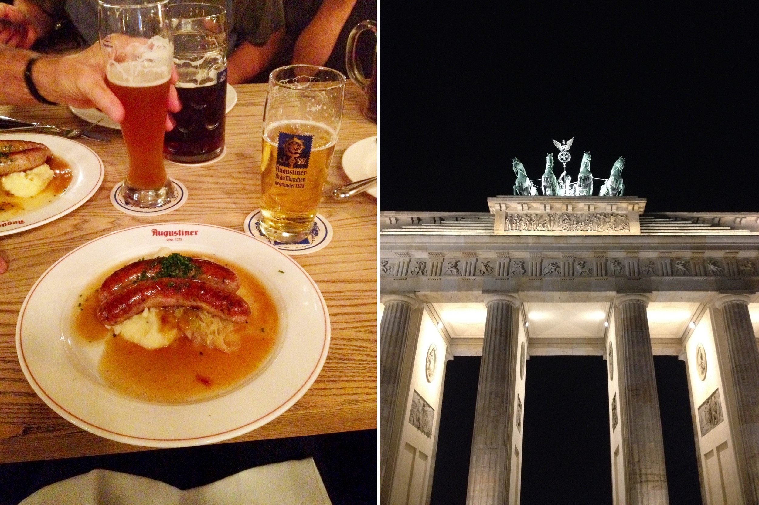 Left: Grilled sausage with mashed potatoes and sauerkraut and my brother's huge dark beer in the background. Right: The Brandenburg Gate lit up at night.