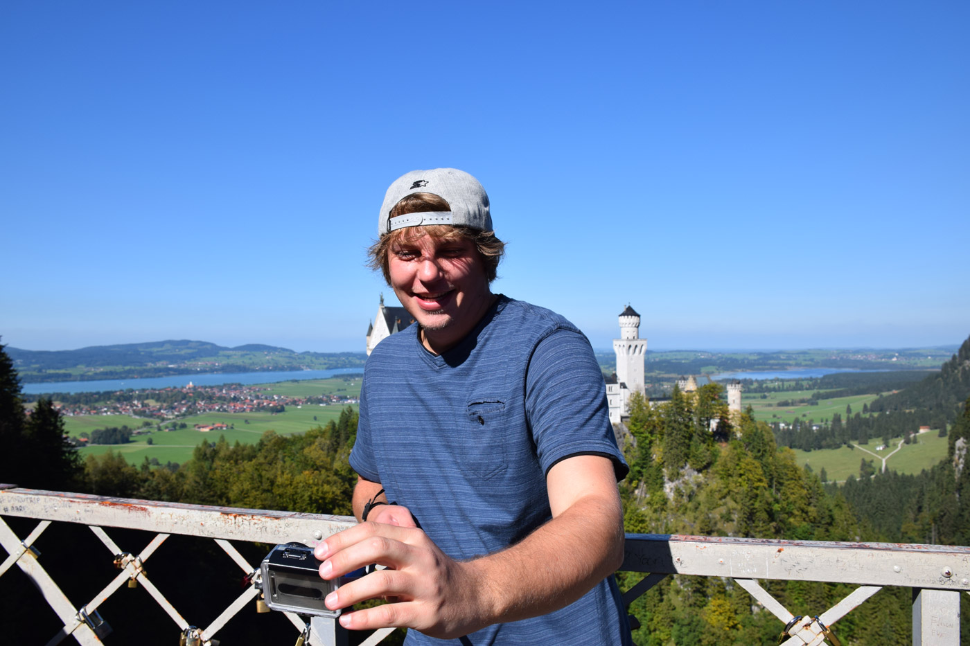 My brother utilizing the latest selfie stick craze. It actually came in handy on this crowded bridge overlooking Schloss Neuschwanstein.