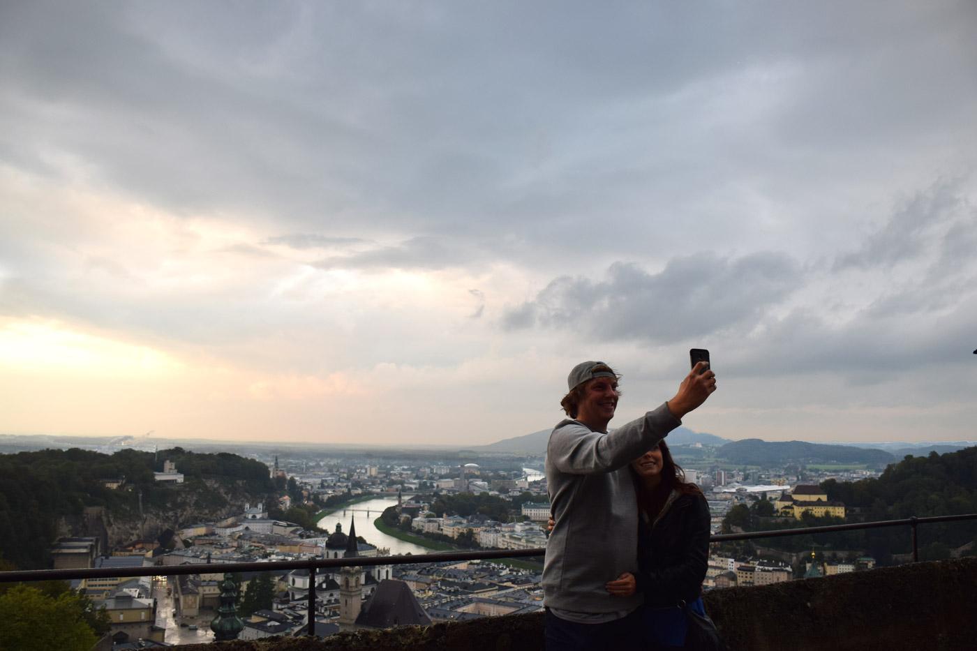An old school selfie attemptoverlooking Salzburg from acastle.