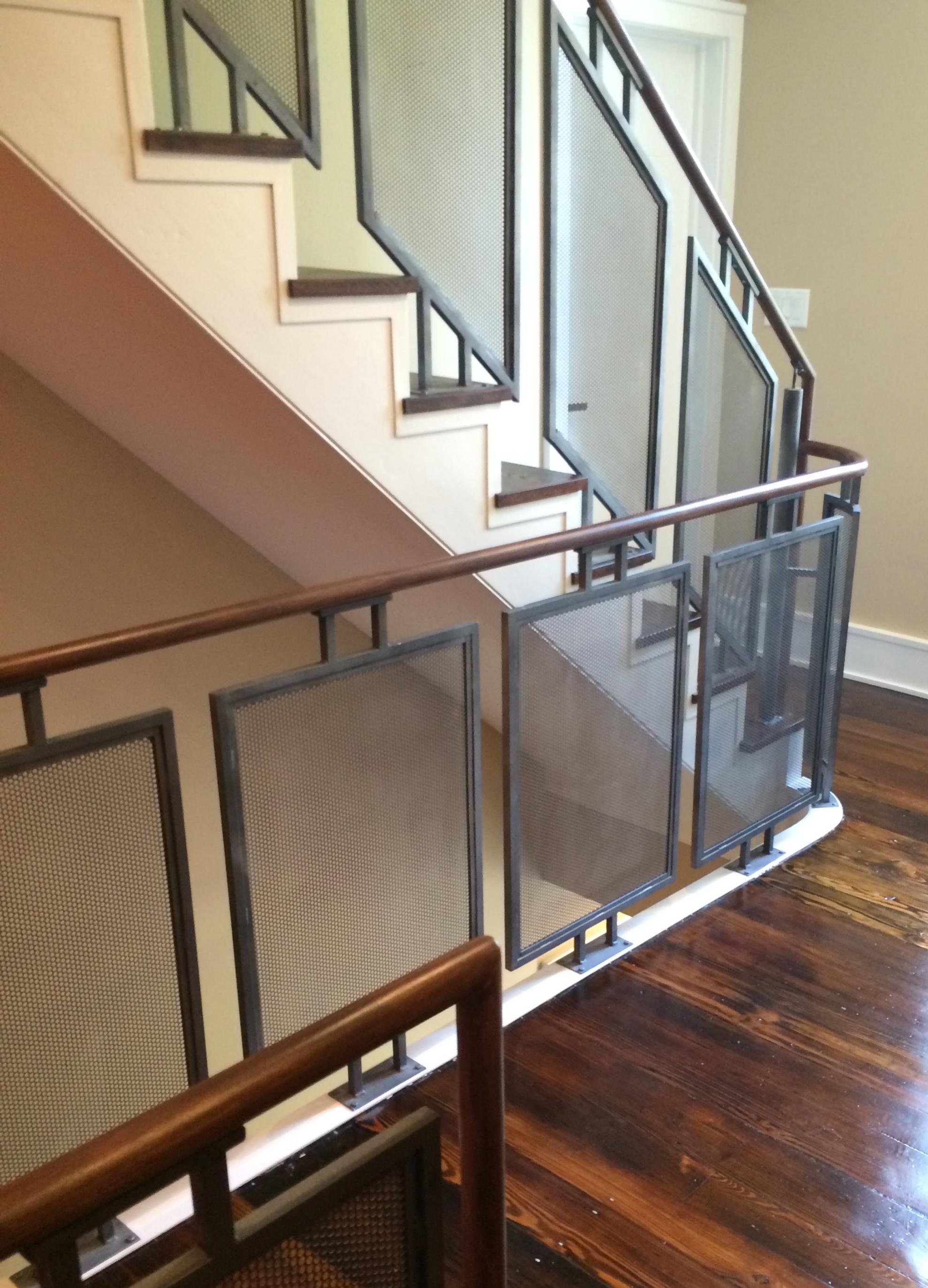 Perforated steel railing