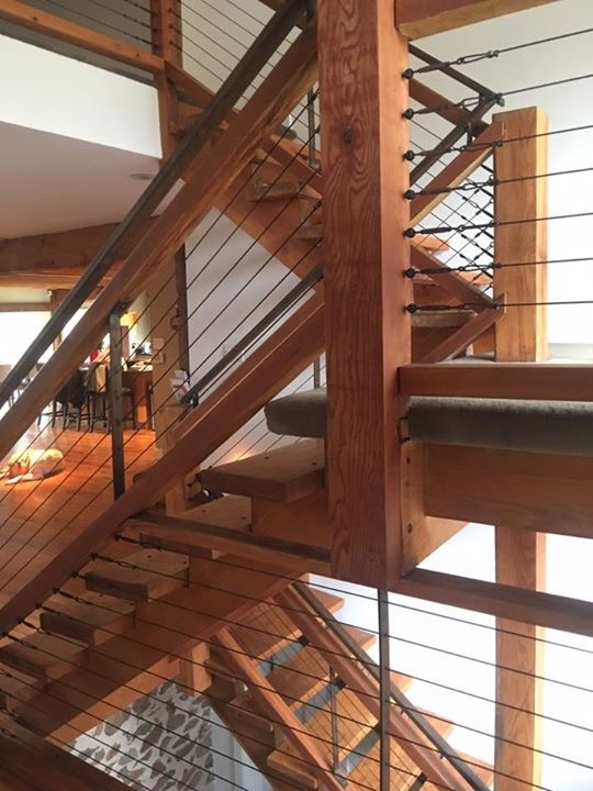 Cable railing with wood newel posts
