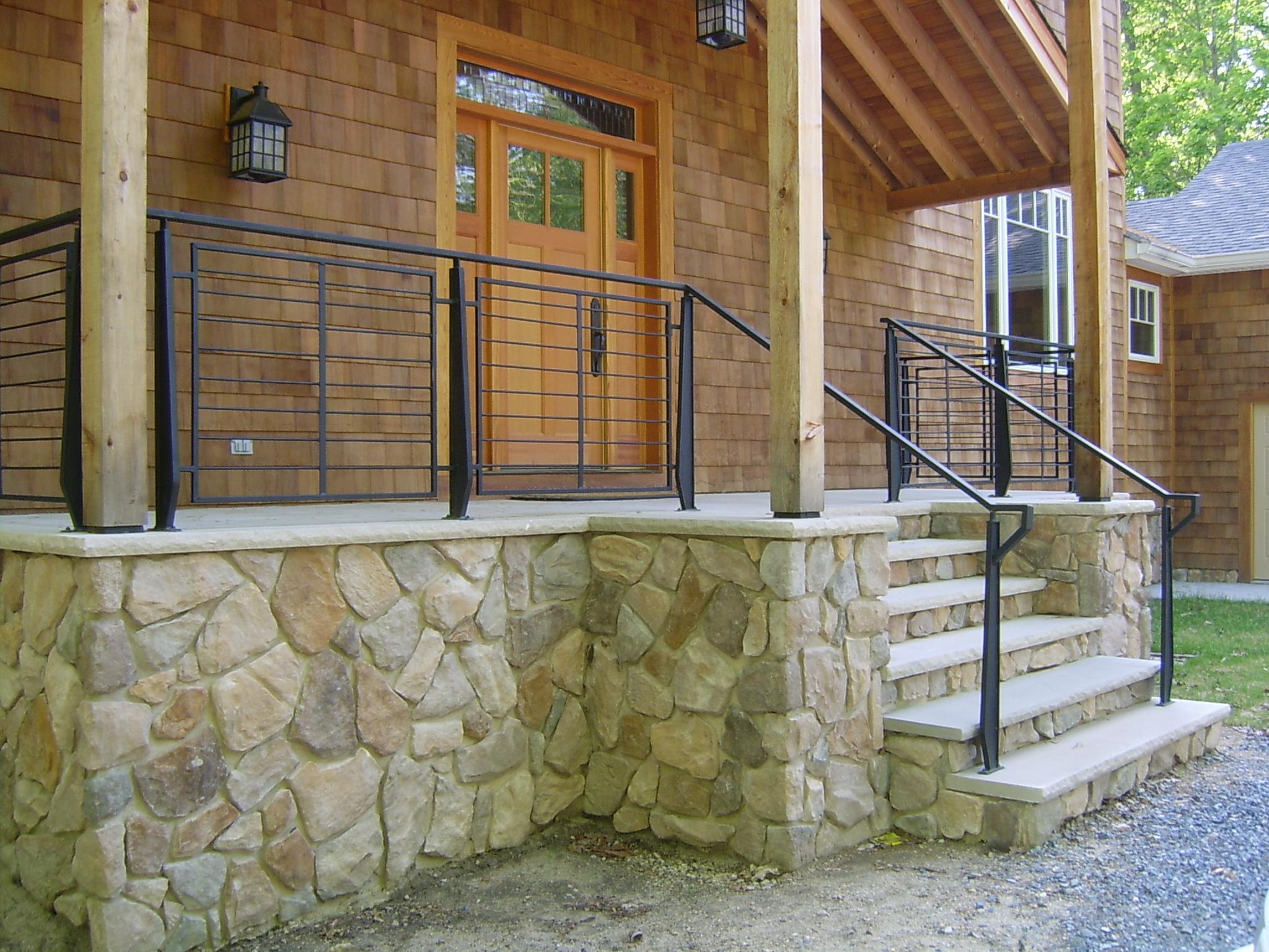 Exterior front porch railing