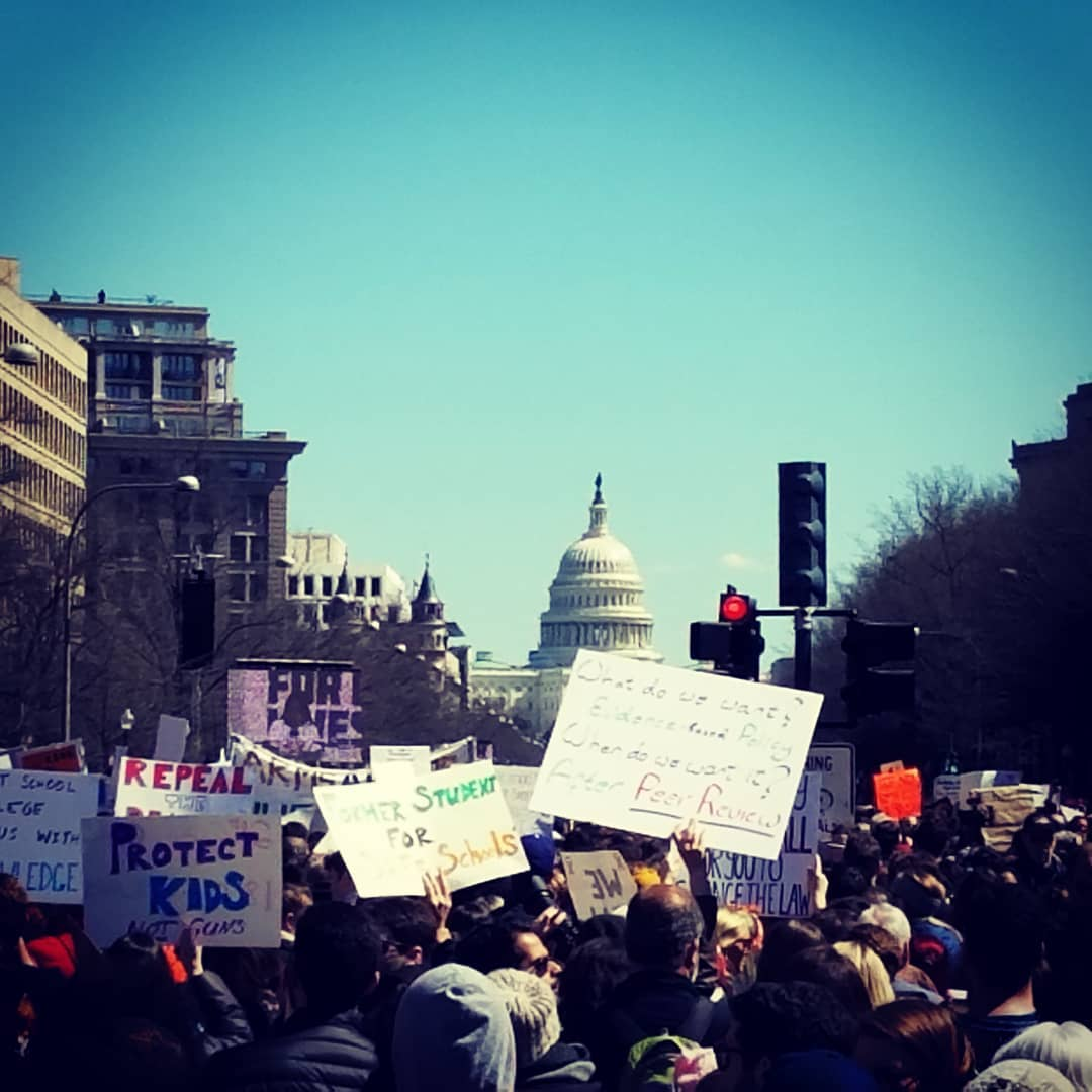 On March 24, 2018 an estimated 800,000 people marched in DC, many of them students, to express their opinions on guns in the schools.