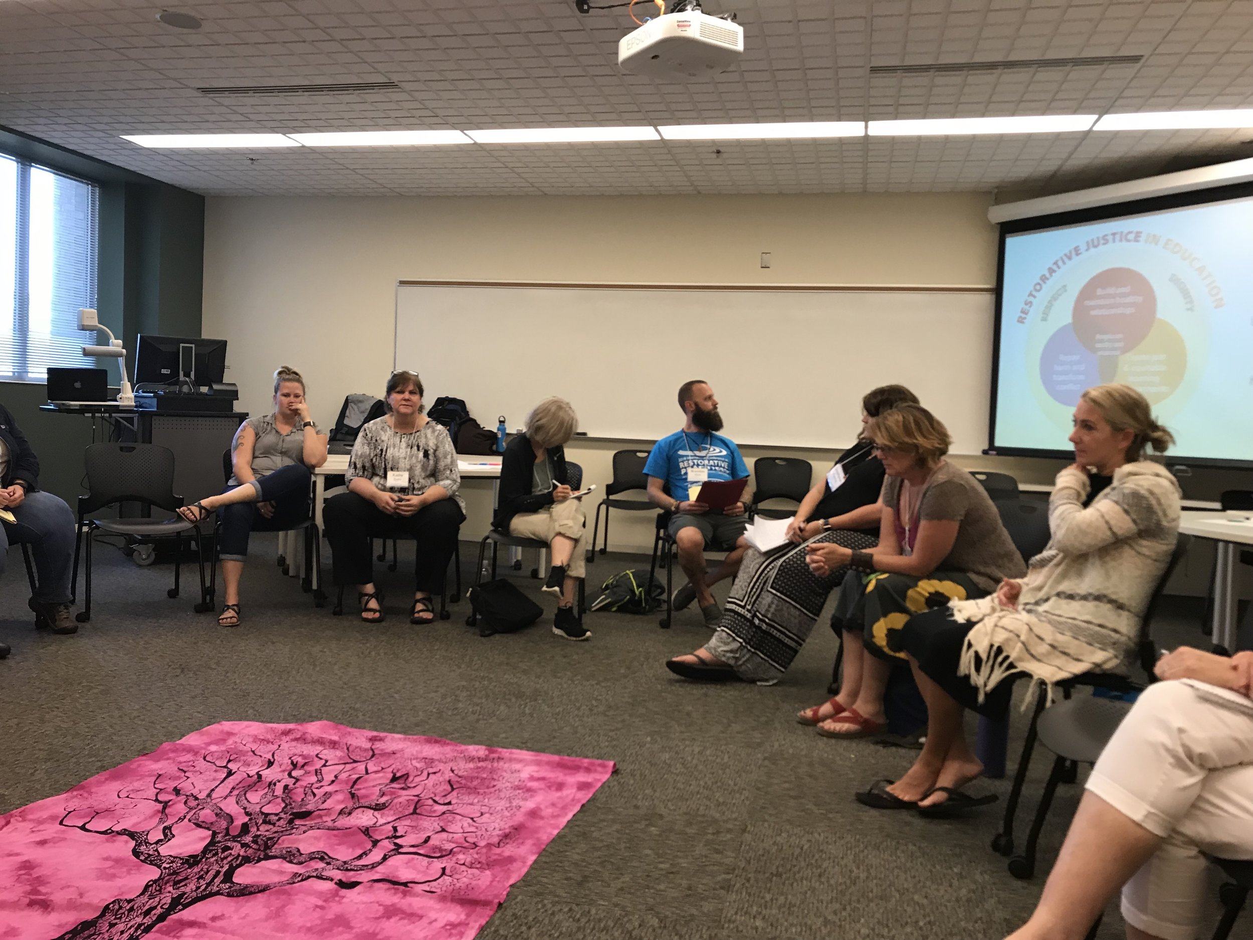 Kathy Evans leading a discussion Restorative Practices for Students with Disabilities