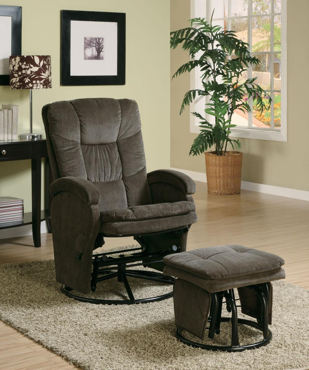 Chocolate chenille reclining glider with matching ottoman